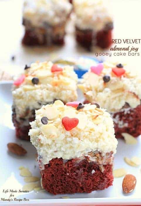 Red Velvet Almond Joy Gooey Cake Bars