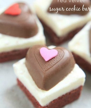 Red Velvet Sugar Cookie Bars with Cream Cheese Frosting @LifeMadeSweeter