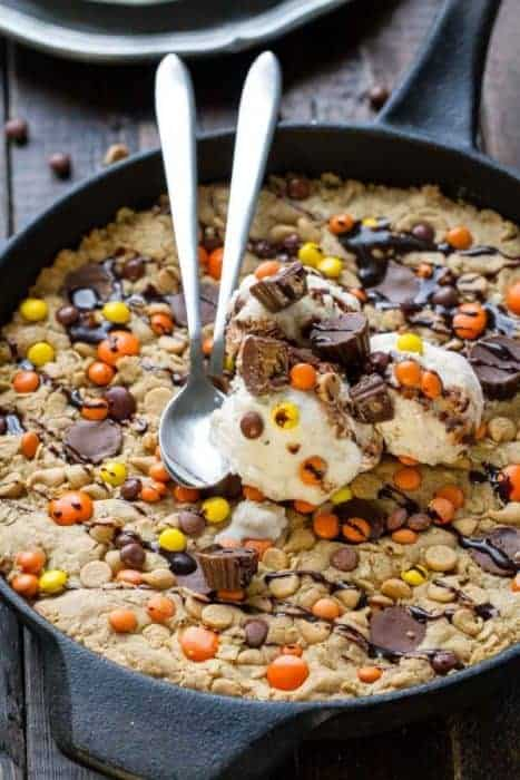 Reese's Peanut Butter Oatmeal Skillet Cookie