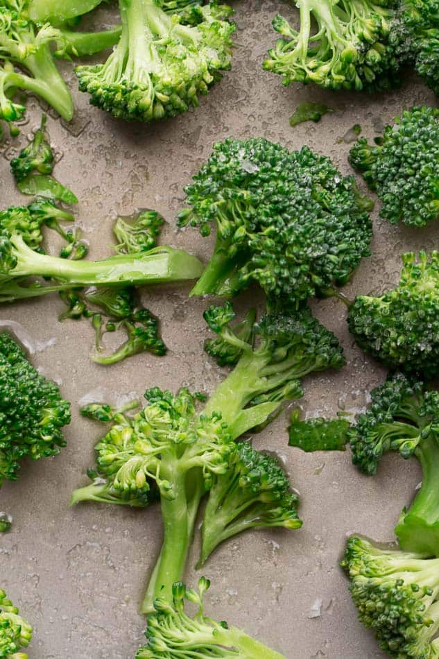 Close up of Raw Broccoli on a tray sheet