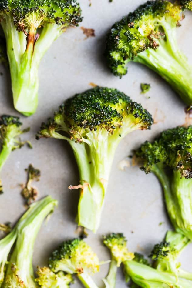 Close up of Roasted Broccoli on a tray sheet