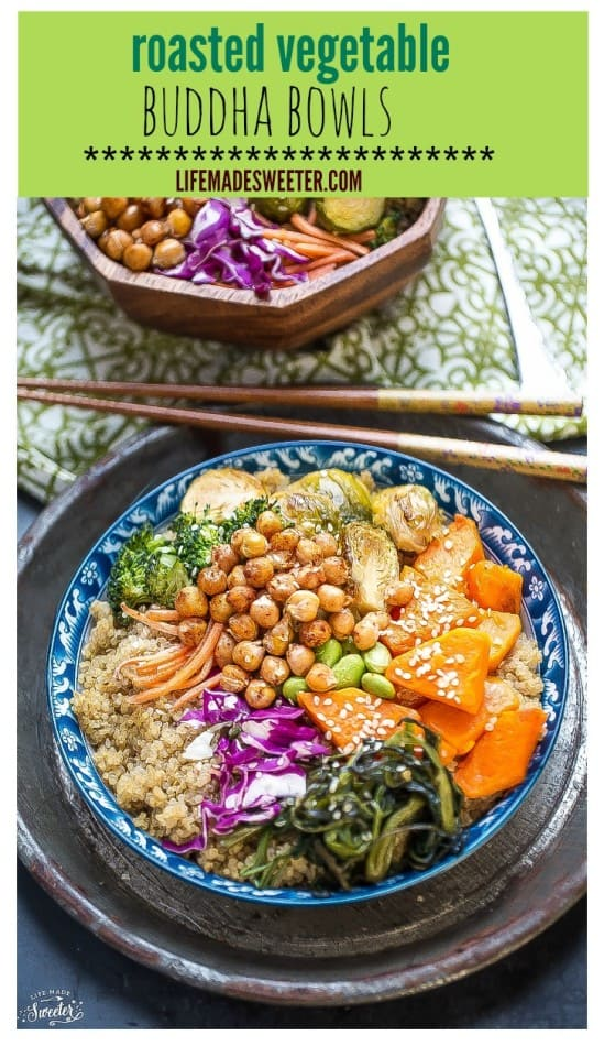 Roasted Vegetable Buddha Bowls make an easy healthy meatless meal!jpg