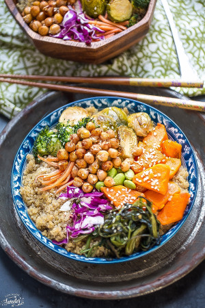 Roasted Vegetable Buddha Bowls make the perfect healthy Meatless Monday meal!