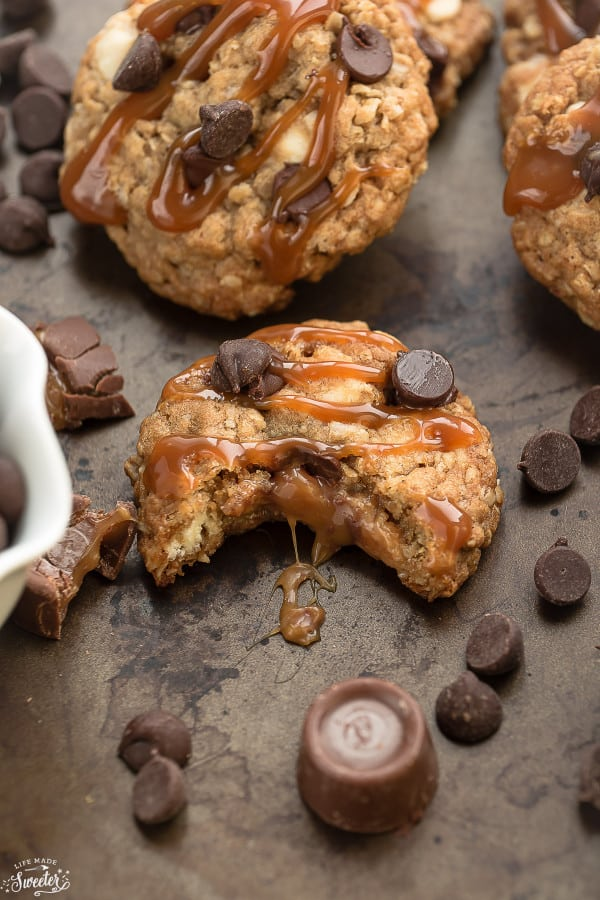 Rolo Stuffed Caramel Oatmeal Cookies make the perfect addition to your holiday cookie tray!