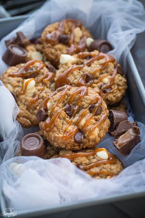 Rolo Stuffed Oatmeal Cookies