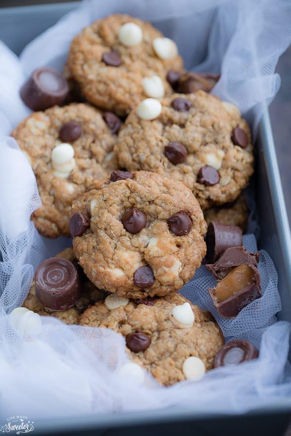 Rolo Stuffed Caramel Oatmeal Cookies make the perfect indulgent treat