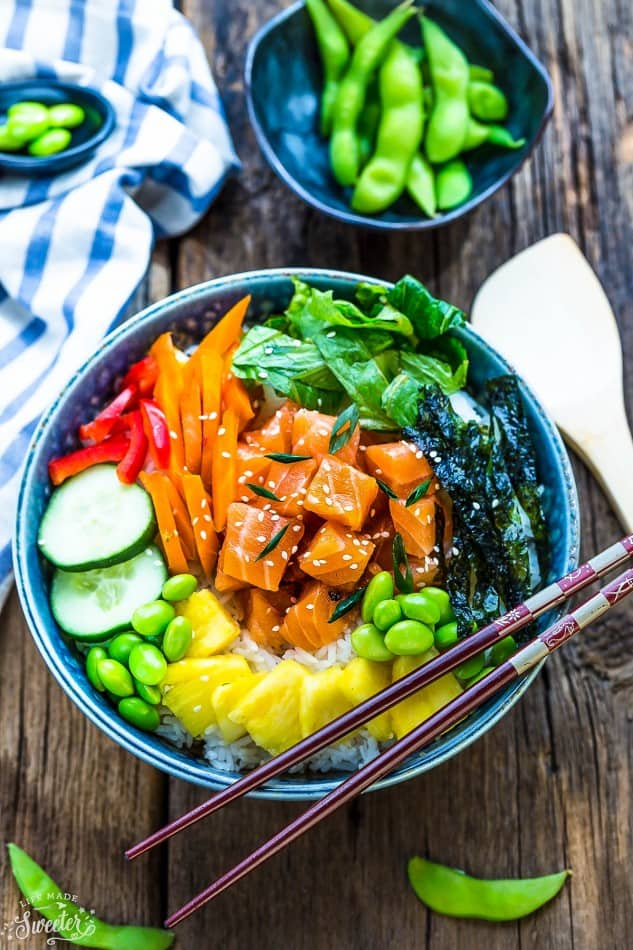 Salmon Poke Bowl - makes a light, healthy and refreshing meal. Best of all, it's so easy to customize with your favorite vegetables and perfect for those busy weeknights.
