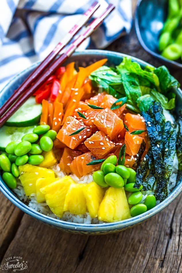 Salmon Poke Bowls make a light, healthy and refreshing meal. Best of all, they're packed with tons of nutritious vegetables and so easy to make and perfect for busy weeknights.