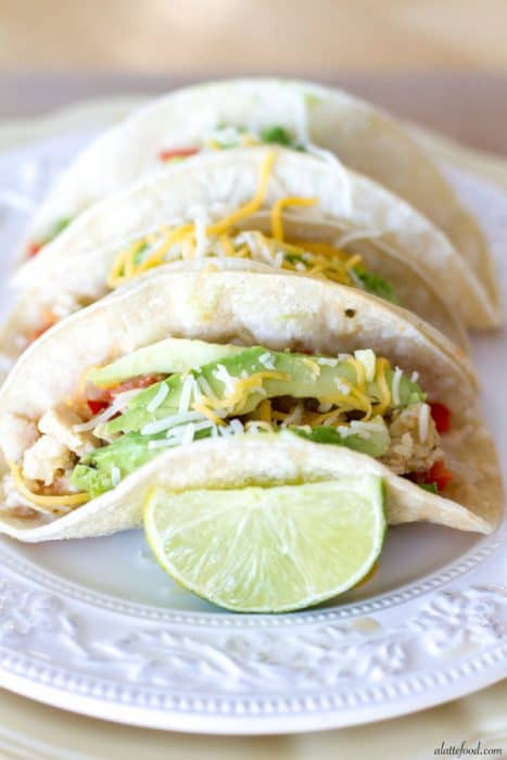Salsa Verde Honey Lime Chicken Tacos