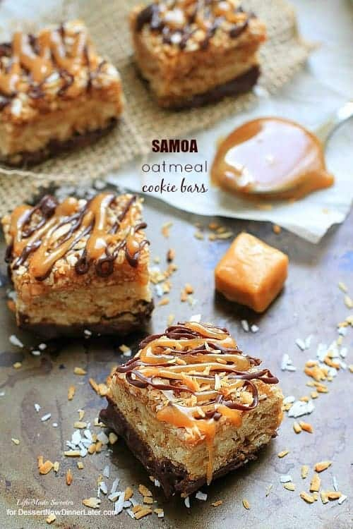 Samoa Oatmeal Cookie Bars - These soft and chewy oatmeal cookie bars combine the beloved caramel, chocolate and coconut flavors of the popular Samoas Girl Scout cookies. by @LifeMadeSweeter