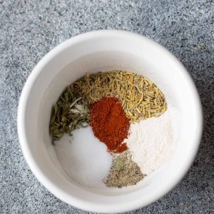Top view of several spices in a bowl