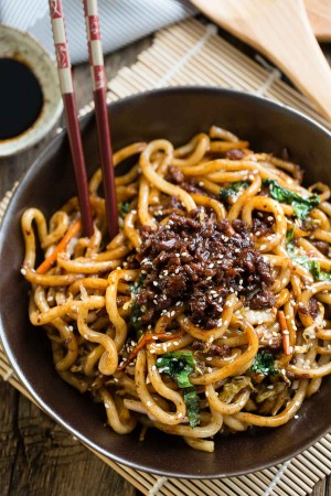 Stir Fried Shanghai Noodles with Ground Pork and Napa Cabbage
