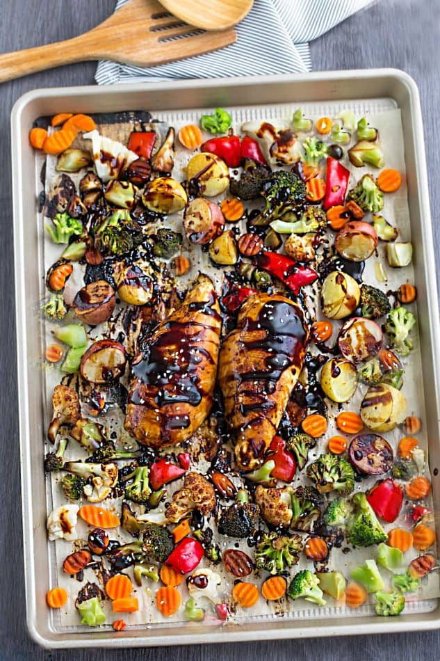 Overhead view of Sheet Pan Hoisin Chicken and Vegetables