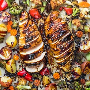 Close-up overhead view of Sheet Pan Hoisin Chicken and Vegetables