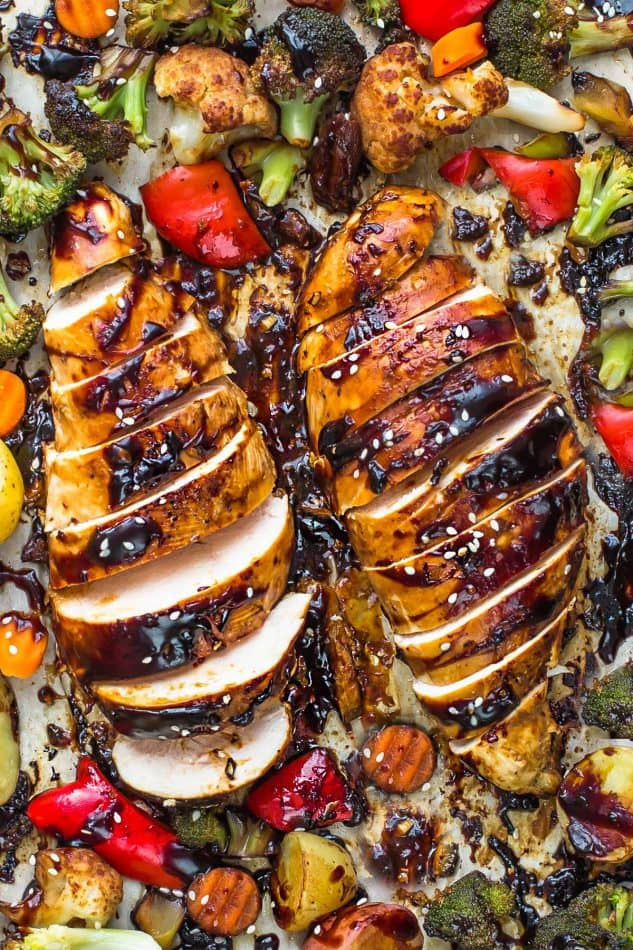 Sheet Pan Hoisin Chicken and Vegetables - an easy weeknight meal made in only ONE pan. Best of all, less than 15 minutes of prep time with minimal clean up! The chicken cooks up tender, flavorful and juicy with a delicious sweet and savory Asian-inspired sauce.