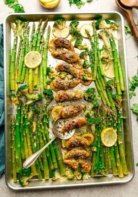 Sheet Pan Honey Lemon Chicken - the perfect easy meal for busy weeknights. Best of all, made with tender and juicy chicken, asparagus coated in a sweet and savory sauce.