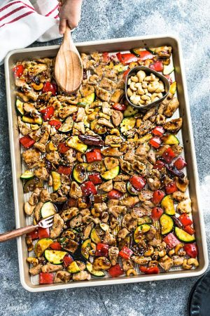 Sheet Pan Kung Pao Chicken dinner