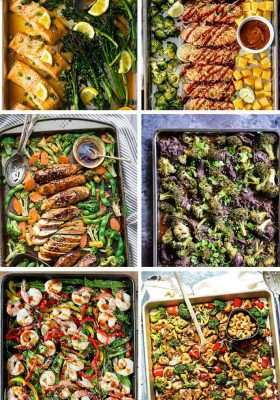 20+ Sheet Pan Stir-Fry Dinners - all the elements you love about classic stir-fries made easier on a baking sheet. These recipes are perfect for Sunday meal prep without the hassle of watching over everything on the stove-top. You've got Cashew Chicken, Sesame Chicken, Teriyaki Salmon, Mongolian Beef, Beef & Broccoli, Shrimp, Tofu and more!