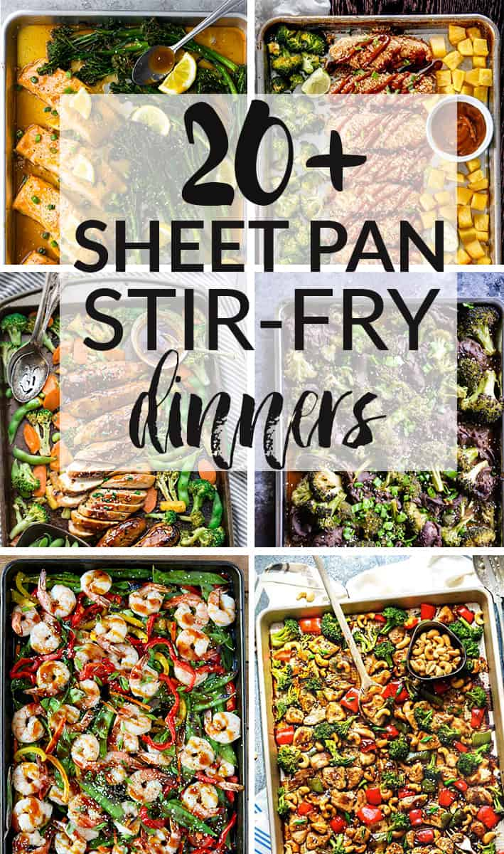 20+ Sheet Pan Stir-Fry Dinners – all the elements you love about classic stir-fries made easier on a baking sheet. Perfect for meal prep without the hassle of watching over everything on the stove-top.