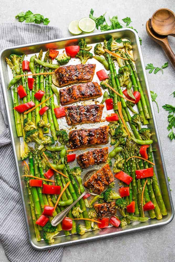 Sheet Pan Teriyaki Salmon with asparagus, broccoli, red bell peppers and carrots