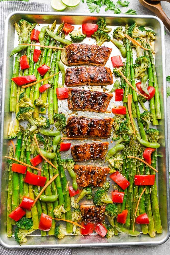 Sheet Pan dinner with Teriyaki Salmon, asparagus, broccoli, red bell peppers and carrots