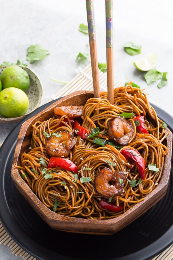 Shrimp Lo Mein makes the perfect easy meal! Skip the takeout, this is so much better!