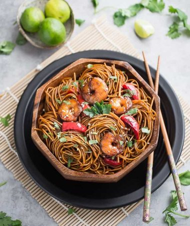 Shrimp Lo Mein makes the perfect easy weeknight meal! Skip the takeout, this is SO much better!!