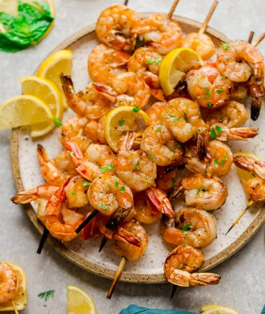 Low Carb Grilled Shrimp Skewers with Lemon Herb Butter Sauce
