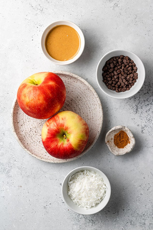 Overhead view of ingredients for Apple Nachos