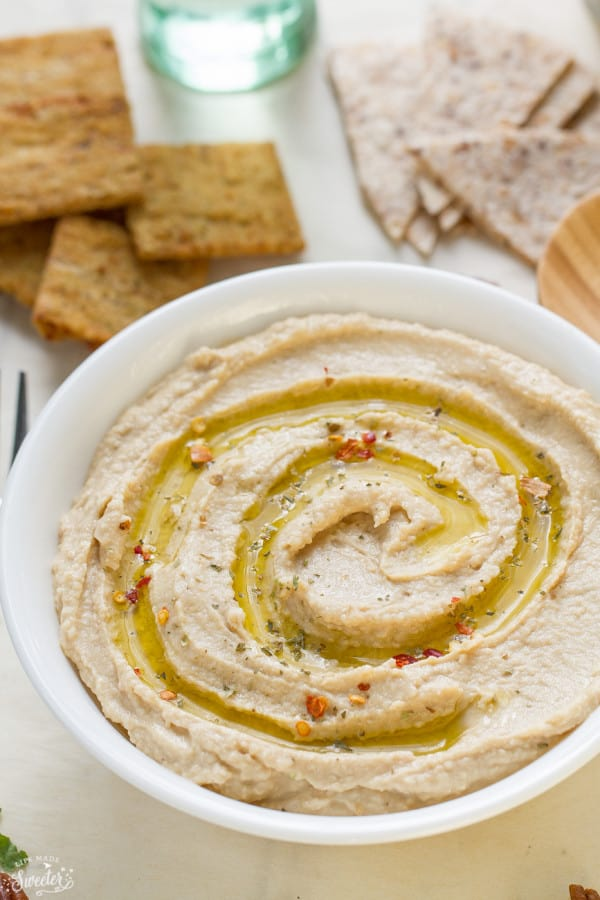 This Simple Easy Hummus is super simple to make and just perfect for a quick snack. Best of all, takes less than 10 minutes to prepare. So much cheaper and better than the packaged stuff.