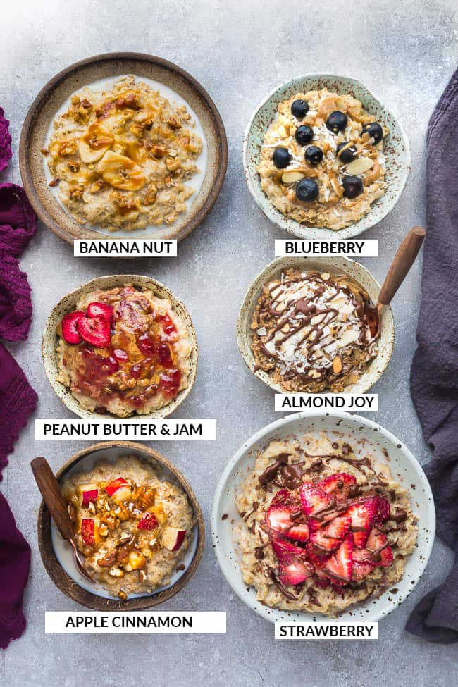 Easy Oatmeal - How to Cook the Perfect Bowl of Old Fashioned Rolled Oats with Six Delicious Recipes. A quick & healthy make ahead breakfast for cooler fall / winter mornings with creamy results every time. Includes stovetop and Instant Pot instructions.