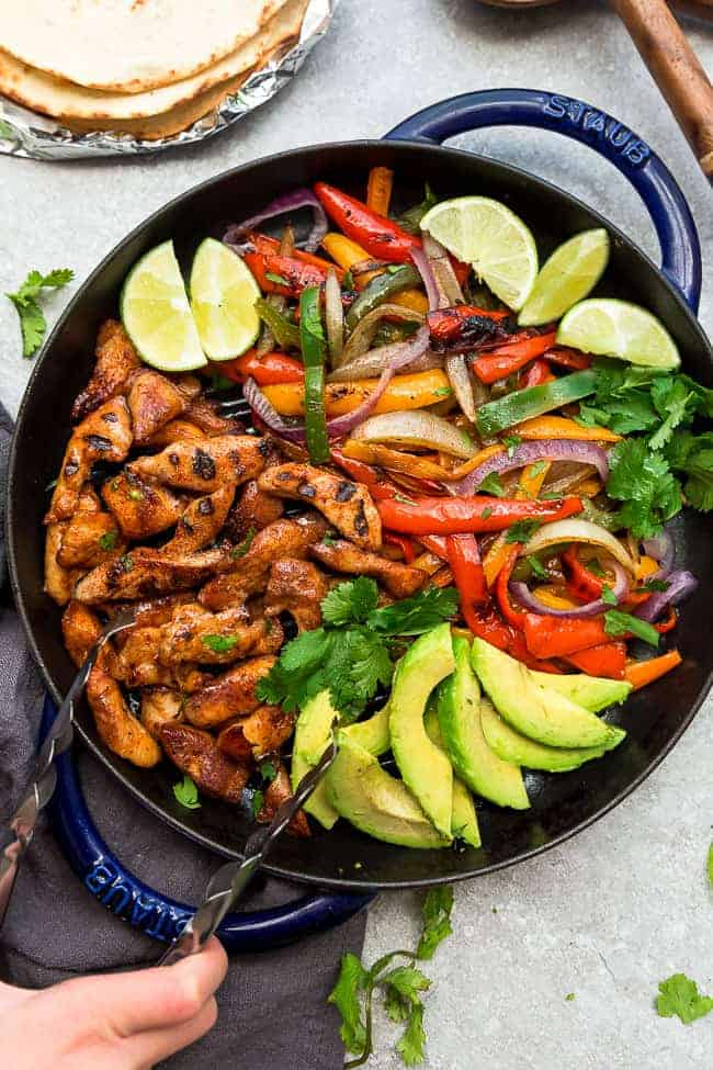Top view of chicken fajita fillings in a skillet
