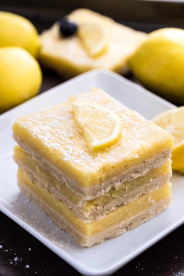 Skinny Lemon Bars make the perfect easy sweet treat! Best of all, they have all the classic flavors of the perfect lemon bar but lightened up and are healthier!