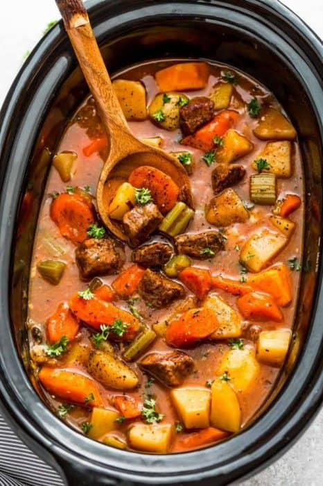 Top view of slow cooker beef stew in a crockpot