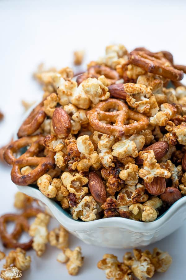 Slow Cooker Caramel Popcorn makes an easy and addictive snack