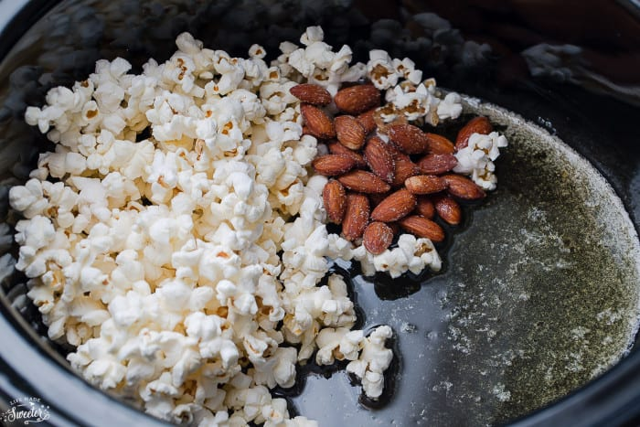 Slow Cooker Caramel Popcorn makes the perfect easy snack