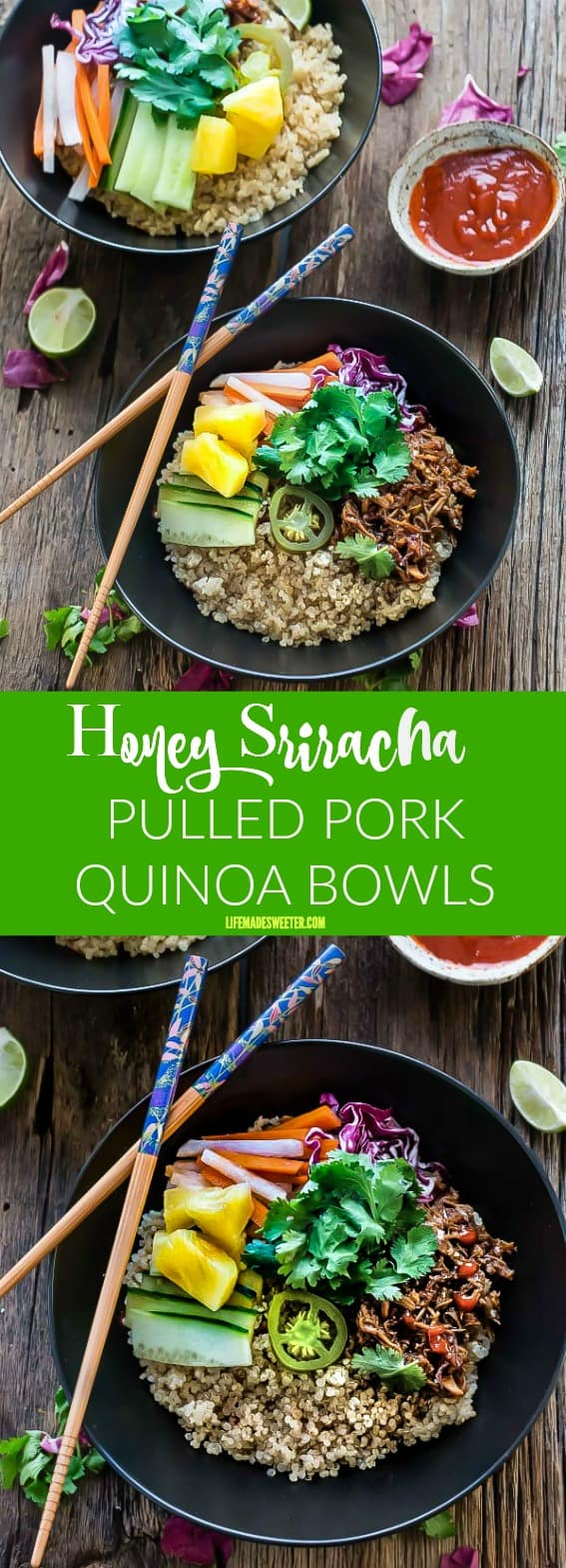 Slow Cooker Honey Sriracha Pulled Pork Quinoa Bowls are the perfect easy weeknight meal!