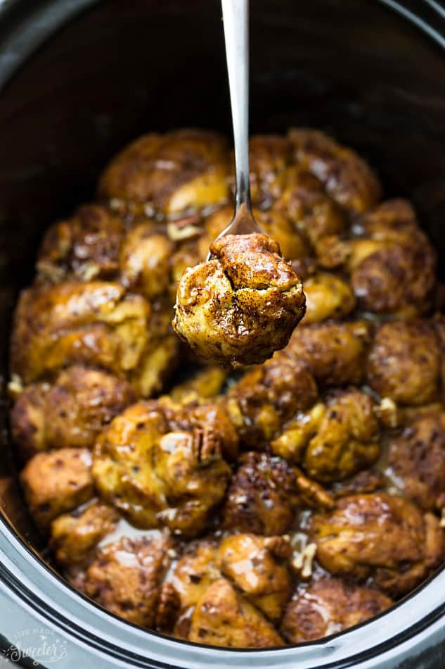 Slow Cooker Pumpkin Monkey Bread makes the perfect easy breakfast or brunch. Best of all, it's so easy to make with refrigerated cinnamon roll dough and it's full of cozy fall spices and a pumpkin cheesecake filling. So delicious for the holidays or any regular day.