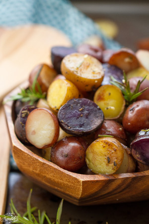 Slow Cooker Rosemary Garlic Tri-color Potatoes makes an easy side dish