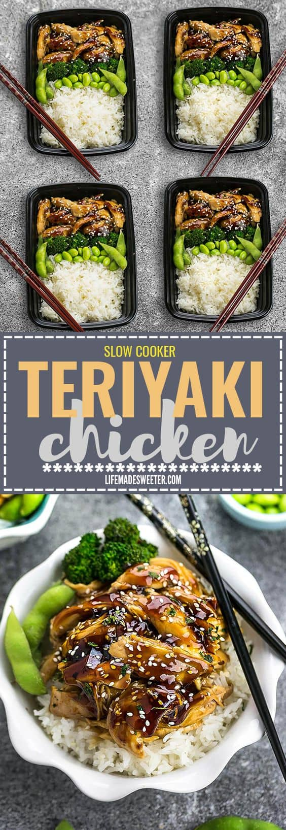 Slow Cooker or Instant Pot Teriyaki Chicken coated in a homemade sweet and savory Teriyaki sauce that is even better than your local Japanese takeout restaurant! Best of all, it's full of authentic flavors and super easy to make with just 10 minutes of prep time. Skip the takeout menu! This is so much better and healthier! Weekly meal prep or leftovers are great for lunch bowls or lunchboxes for work or school. Instructions for crock-pot and Instant Pot pressure cooker