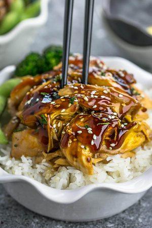 Slow Cooker Teriyaki Chicken (+ Instant Pot) + Recipe Video