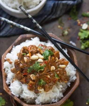 Slow Cooker Thai Peanut Chicken makes an easy weeknight meal