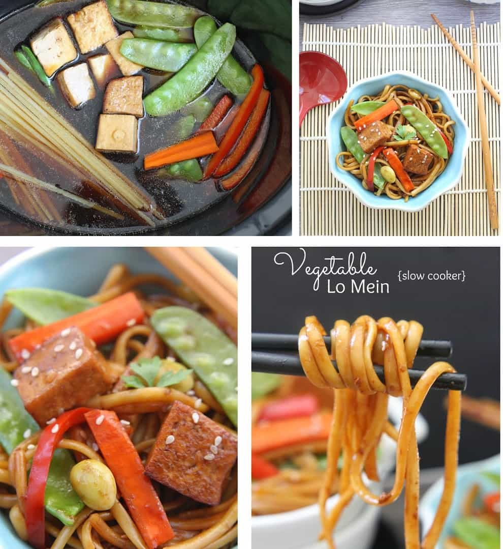 Collage of Slow Cooker Chicken Lo Mein
