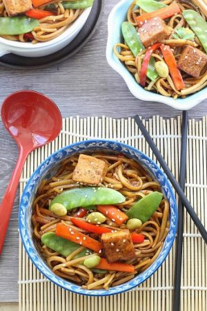 Slow Cooker Vegetable Lo Mein makes the perfect easy Asian-inspired weeknight meal! Best of all, takes only 15 minutes to put together with the most authentic flavors! My father was the head chef at a top Hong Kong Chinese restaurant and this was his specialty! So delicious and way better than any takeout!