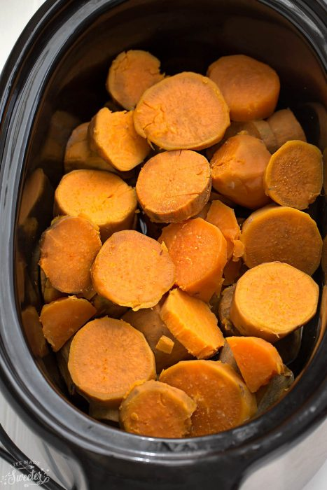 Slow Cooker Mashed Sweet Potatoes make the perfect easy side dish. They cook up super creamy all in your crock-pot! The best part about them is that there is no pre-boiling required!