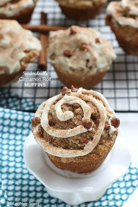 Snickerdoodle Cinnamon Roll Streusel Muffins make the perfect easy breakfast or snack. Best of all, full of delicious cinnamon chips with a streusel topping, a sweet cinnamon glaze and an extra sprinkling of cinnamon sugar.