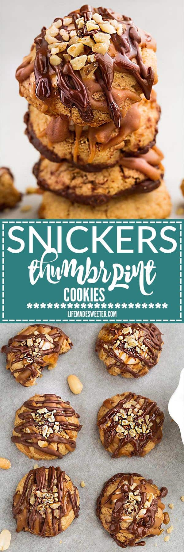 Snickers Thumbprint Cookies make the perfect addition to your holiday cookie batter. Best of all, it's so easy to make with a 3 ingredient soft and chewy peanut butter cookie, a marshmallow gooey nougat filling and a drizzle of melted chocolate and caramel with chopped peanuts sprinkled in the center.