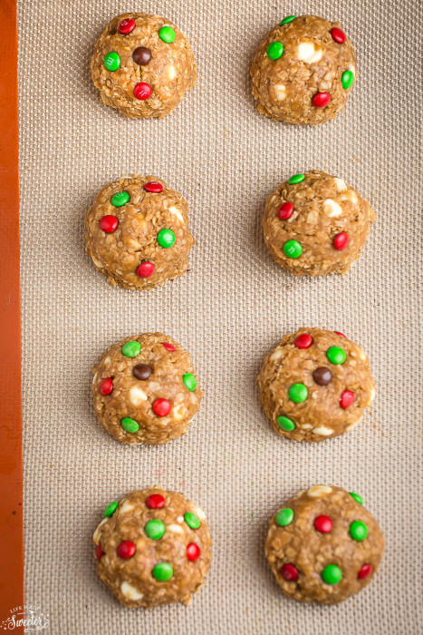 Soft & Chewy Oatmeal M&M Cookies (Christmas Style) are perfect for your holiday cookie tray