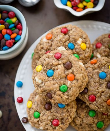 Soft & Chewy Oatmeal Monster Cookies are the perfect afternoon treat