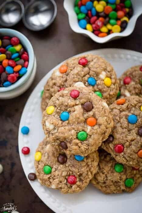 Soft and Chewy Oatmeal Monster Cookies